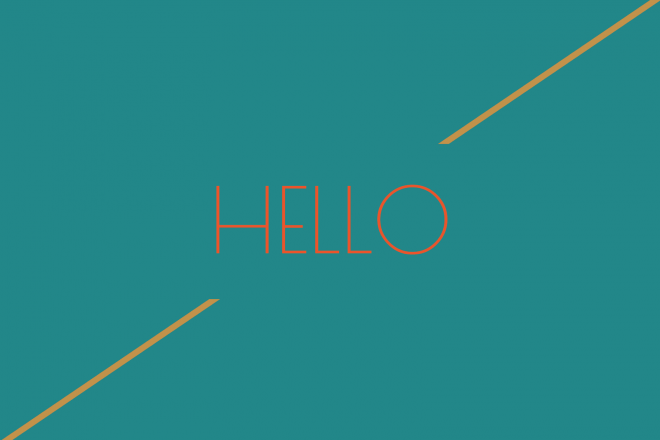 Hello-greeting word blue and golden