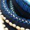 plan serré des matières utilisées par Rhizom : laine, coton, perles.