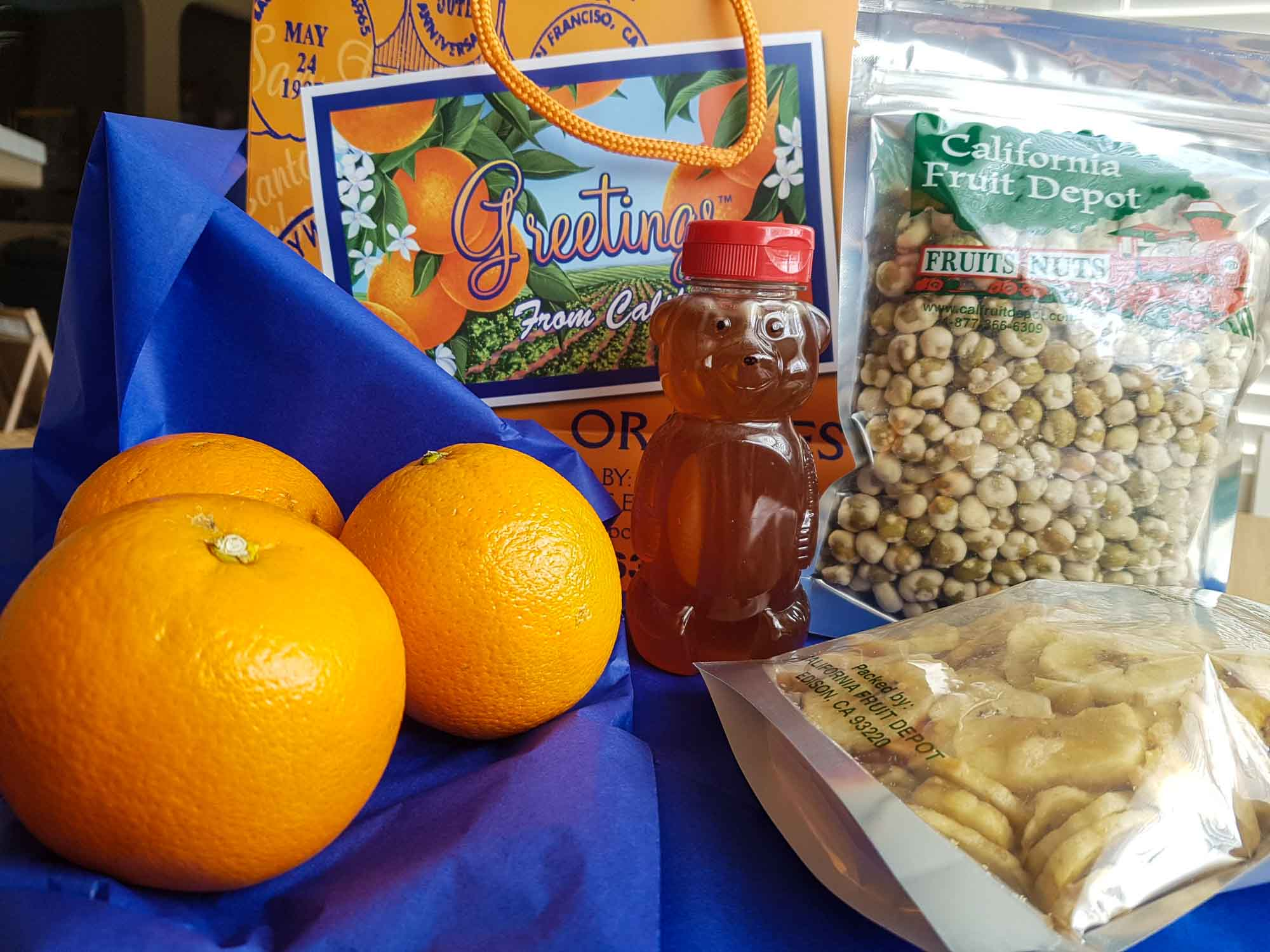 Oranges, honey and nuts from California Fruit Depot in Bakersfield, California