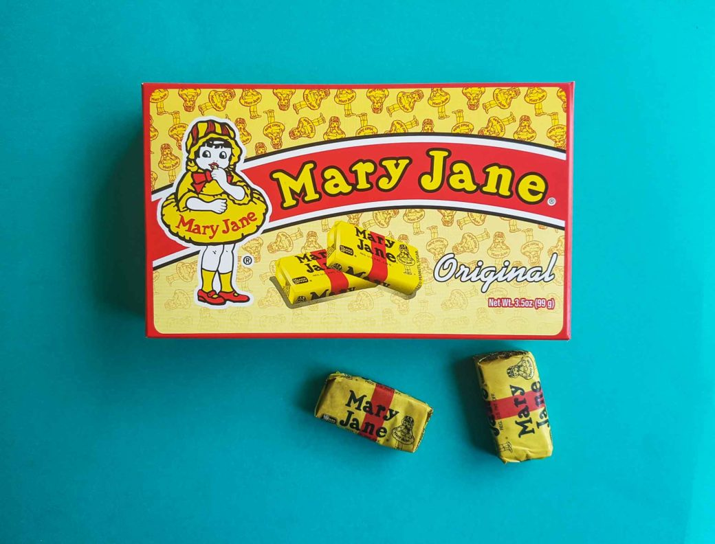 Boite de caramels Mary Jane de la marque NECCO