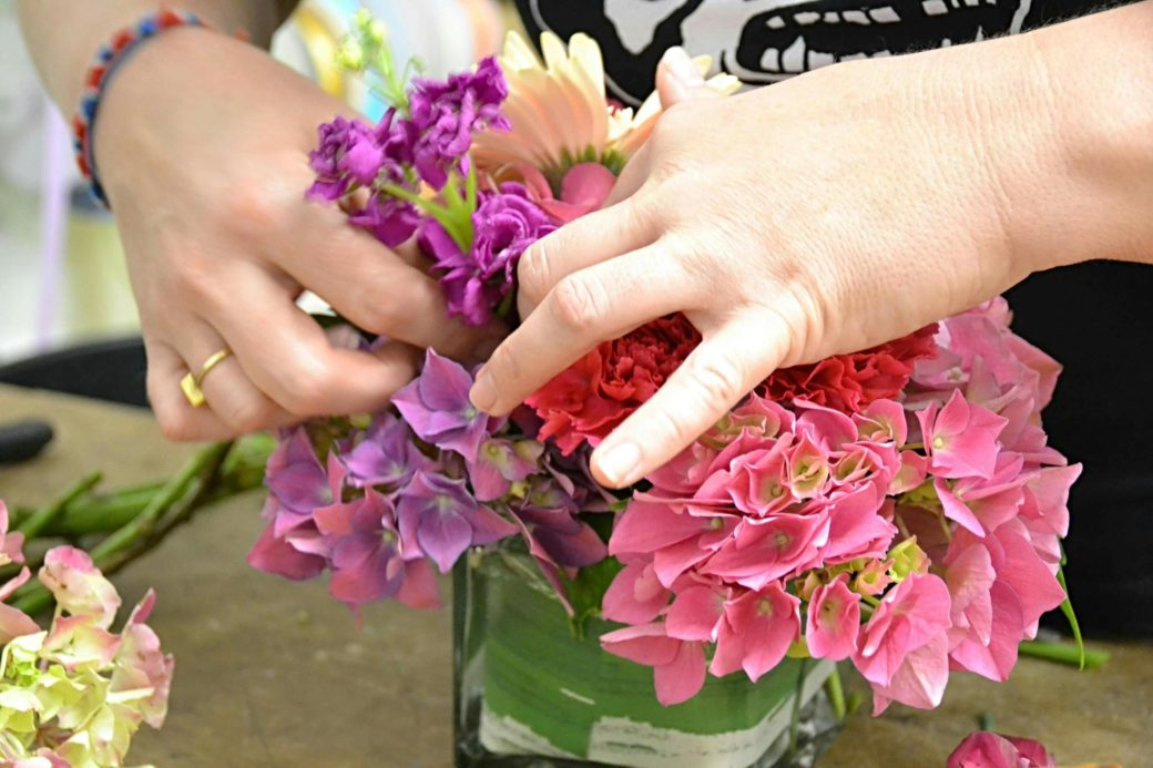 House of Flowers, Bakersfield California, Amanda's hands at work