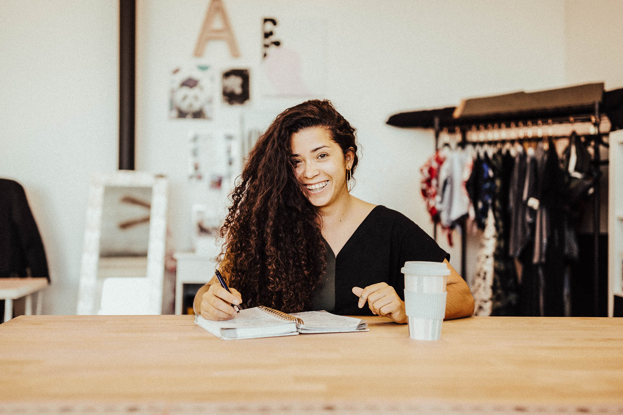 Amanda in her workspace